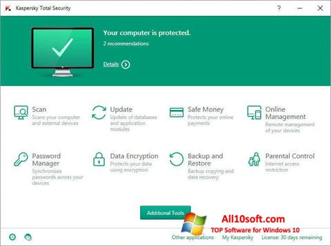 Screenshot Kaspersky Total Security per Windows 10