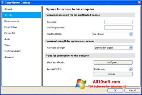 Screenshot TeamViewer per Windows 10