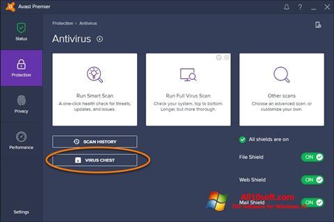 Screenshot Avast per Windows 10