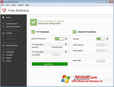 Screenshot Avira Free Antivirus per Windows 10