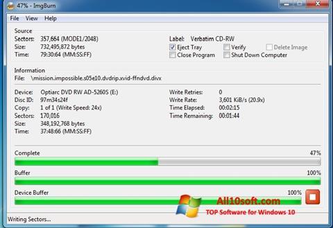 Screenshot ImgBurn per Windows 10