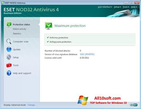 Screenshot ESET NOD32 per Windows 10